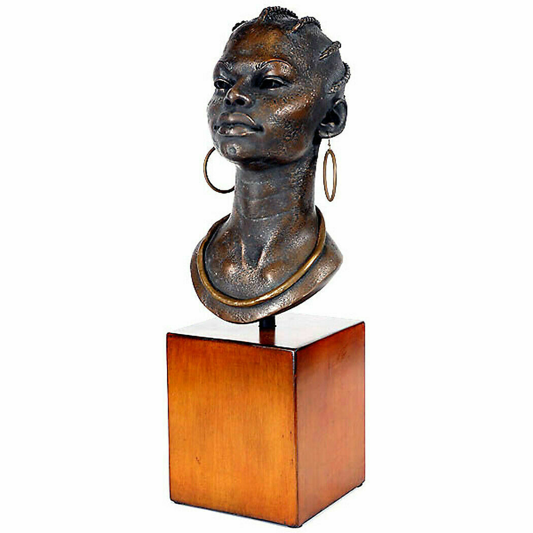 "22.5"" African Woman Bust on Stand Table Decor Collectible"