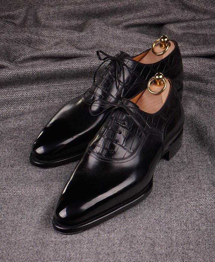 Primary image for Black Leather Handmade Oxfords Dress Shoes, Custom Formal Leather Shoes for Men