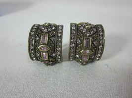 Heidi Daus Purple Crystal Half Hoop Clip On Earrings - $49.49