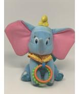 Disney Baby Dumbo Hanging Plush Chime Teething Sensory Crinkle Blue Stuf... - $12.00
