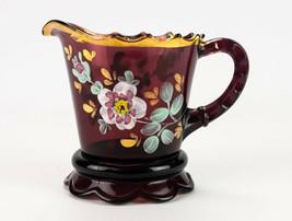 Jefferson Scalloped Skirt Amethyst Creamer w Floral & Gold, Antique EAPG... - $49.00