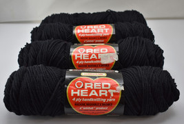 Red Heart Wintuk 4 Ply 100% Orlon Acrylic Yarn - 4 Skeins Color Black #12 - $17.05