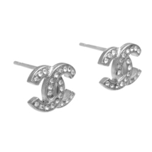 Authentic Chanel 2018 Classic CC Logo Crystal Strass SILVER Stud Earrings  image 2