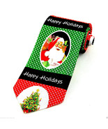 Men's Christmas Neck Tie Happy Holidays Trees Santa Claus Green Black Ne... - $14.85