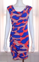 JESSICA SIMPSON Blue Coral Summer Day Evening Party Cocktail Dress sz 6 ... - £16.47 GBP
