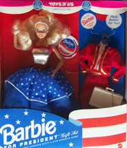 TOYS R US 1991 BARBIE FOR PRESIDENT GIFT SET CHOOSE DEMOCRAT OR REPUBLICAN - $23.83