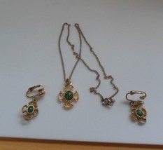 Avon Gold/Silver-tone Celtic Green Stone Necklace & Clip-on Earring Set - $19.79