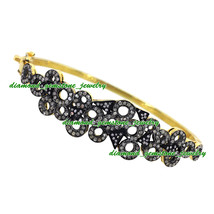 3.75ct Rose Cut Diamond Antique Victorian Vintage 925 Sterling Silver Bracelet - $280.31