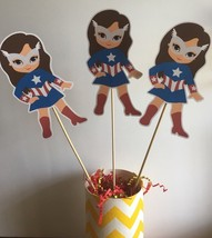 Captain America Super girl Party Set Of 3 Centerpiece Picks DOUBLE SIDED - $8.38 CAD