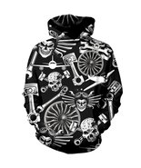 Mechanic Skull Black Hoodie All Over Printed Metal Tool Cool Perfect 3D ... - $42.99