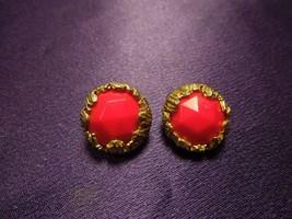 1950's Jonne Gold Tone Red Bead Vintage Clip On Earrings - $17.82