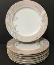 """Mikasa Fine China Charisma Beige L9045 Set of 7 Salad Plates 7.5"""" Gold Trim PD19 - $27.99"""