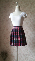 Red and Navy Plaid Skirt High Waisted Pleated Plaid Skirts Mini Plaid Skirt image 3