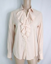 Lauren Ralph Lauren Pinstripe Button Down Shirt M Pale Blush Pink Ruffle... - $9.50