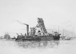 PORTSMOUTH HARBOR Mud Dredger Boat - Original Etching print by E.W. Cooke - $19.09