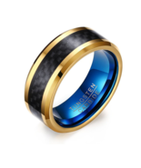 8MM Blue Tungsten Carbide Rings for Men Jewelry with Black Carbon Fiber - $22.99