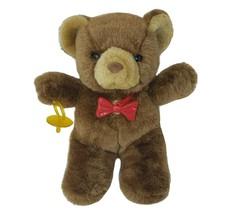 VINTAGE UNEEDA BROWN TEDDY BEAR W/ PACIFIER & RED BOW STUFFED ANIMAL PLU... - $55.17