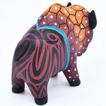 Handmade Alebrijes Oaxacan Wood Carving Painted Folk Art Buffalo Bison Figurine image 4