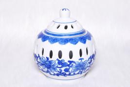 Vintage Collectible Blue & White China Floral Ginger Jar Candle Holder - $29.00