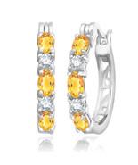 November Citrine 2.00 Ct Hoop Earrings with Diamonds Sterling Silver - $49.49
