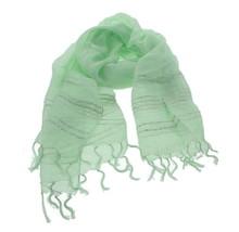 Eileen Fisher Studded Linen Scarf Pale Leaf Green Silver Slight Shimmer ... - $111.29 CAD