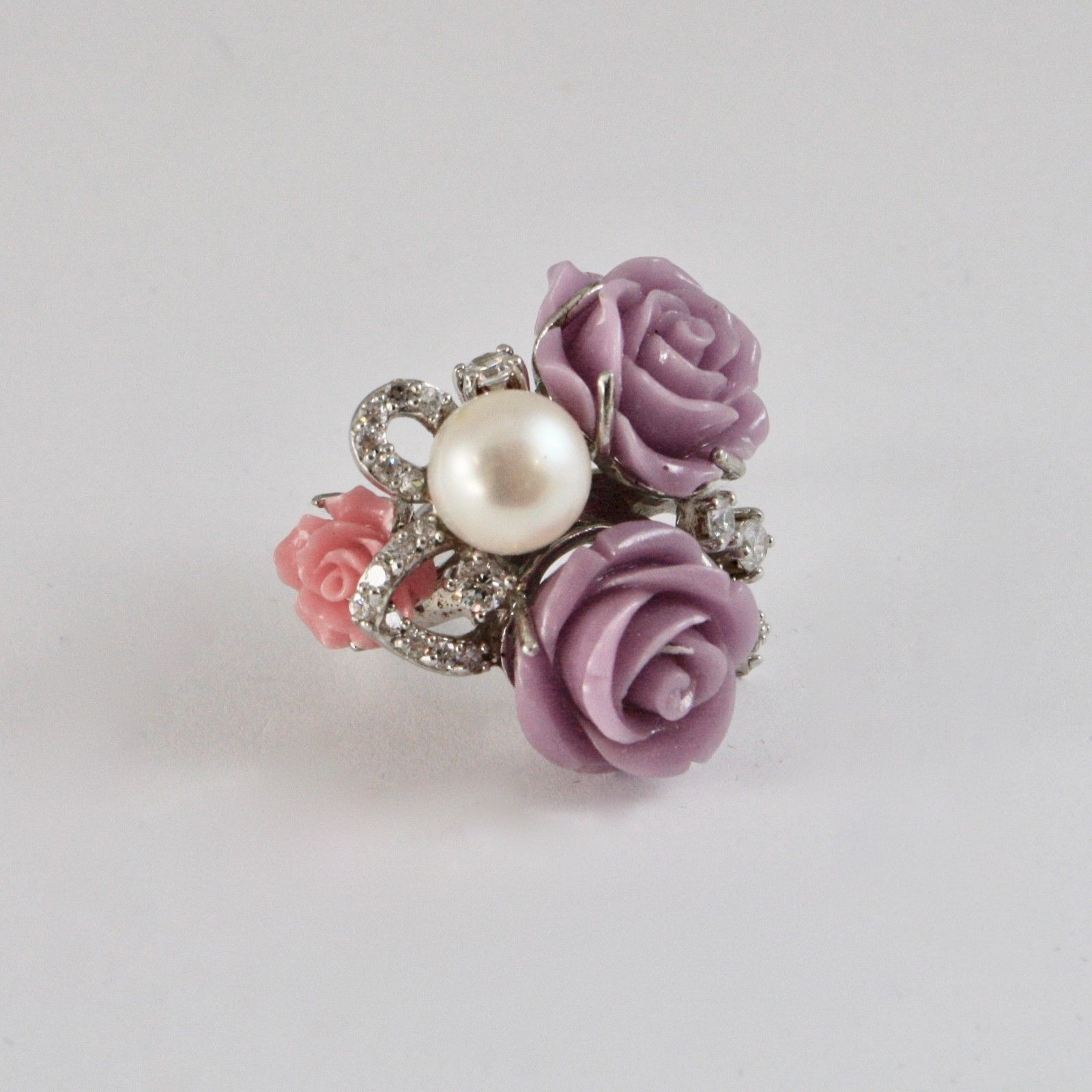 925 SILVER RING RHODIUM WITH ZIRCON CUBIC ROSES OF RESIN AND PEARL WHITE