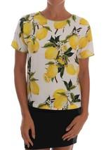 Dolce & Gabbana Multicolor Lemon-Print Floral Top Blouse - $185.00