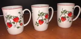 Ftz & Floyd Strawberry Pattern china mugs x 3 EUC 1980 o - $23.38