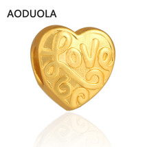 Charms 10 PCS a Lot Heart With Letters Relief Letter Matt 24K Gold Plate... - $24.99