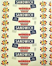Vintage bread wrapper WONDER SANDWICH dated 1948 Des Moines Iowa new old... - $8.99