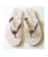 MICHAEL KORS JET SET PINK GOLD LOGO FLIP FLOP SANDALS Size 8 - $30.89