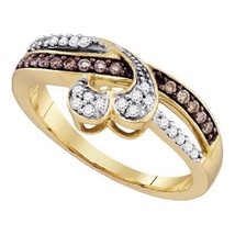 10k Yellow Gold Round Brown Color Enhanced Diamond Heart Love Ring 1/4 - £241.23 GBP
