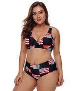 American Flag Checked Plus Size Swimsuit  - $23.88