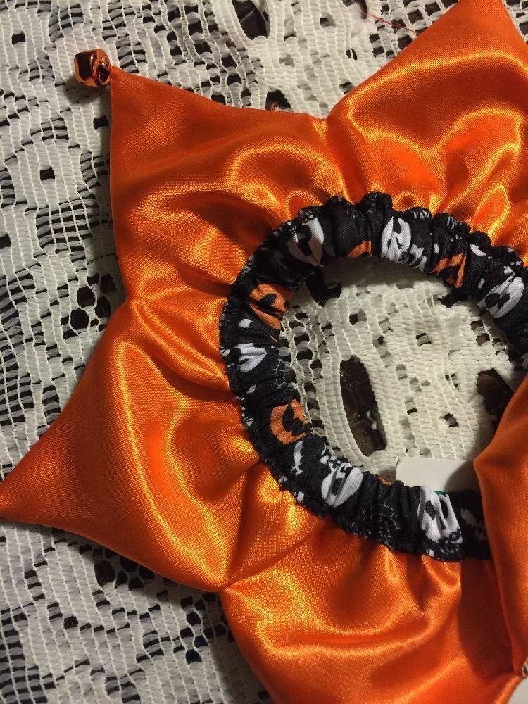 Dog Scrunchie Size XS/S Black With Pumpkins Bat Skulls Spiderwebs