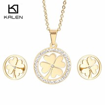 Kalen Lucky Gold Clover Jewelry Sets For Women Stainless Steel & Rhinestone Four - $21.13