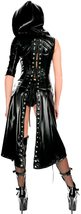 Women Faux Black Leather Punk Gothic Dress Lace up Catsuit Hooded Grim Reaper Co image 2