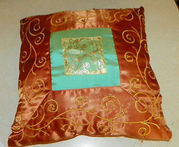 Gold Turquoise Silk Print Decorative Throw Pillow  15 x 15 - $34.95