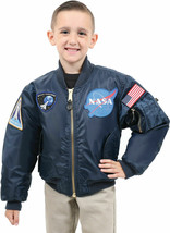 Kids Navy Blue NASA Space Shuttle MA-1 Bomber Flight Jacket Reversible Coat - $47.99