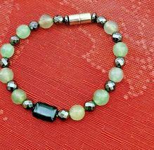"Hematite & Agate Bracelet Magnetic Hematite Clasp Single Strand 7"" MAG-036 image 3"
