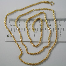 18K Yellow Gold Chain Necklace, Braid Rope 17.71 Inch Long, Made In Italy - $187.98