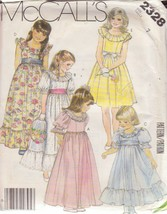 McCALL'S 1986 PATTERN 2328 SIZE 7 GIRLS' GOWN OR DRESS IN 5 VARIATIONS - $3.90