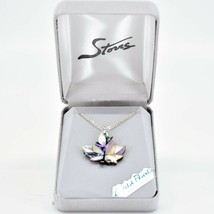 A.T. Storrs Wild Pearle Abalone Shell Canadian Maple Leaf & Silver Tone Necklace