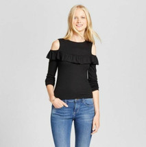 Women's Mossimo LS Ribbed Knit Cold Shoulder Top Black Sizes XS, M, XL, ... - $5.99