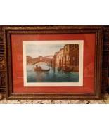 Vintage GONDOLA ALONG A SMALL CANAL IN VENICE Watercolor-Pen engraving S... - $98.01