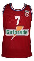 Toni Kukoc #7 Croatia Yugoslavia Custom Basketball Jersey New Sewn Red Any Size image 4