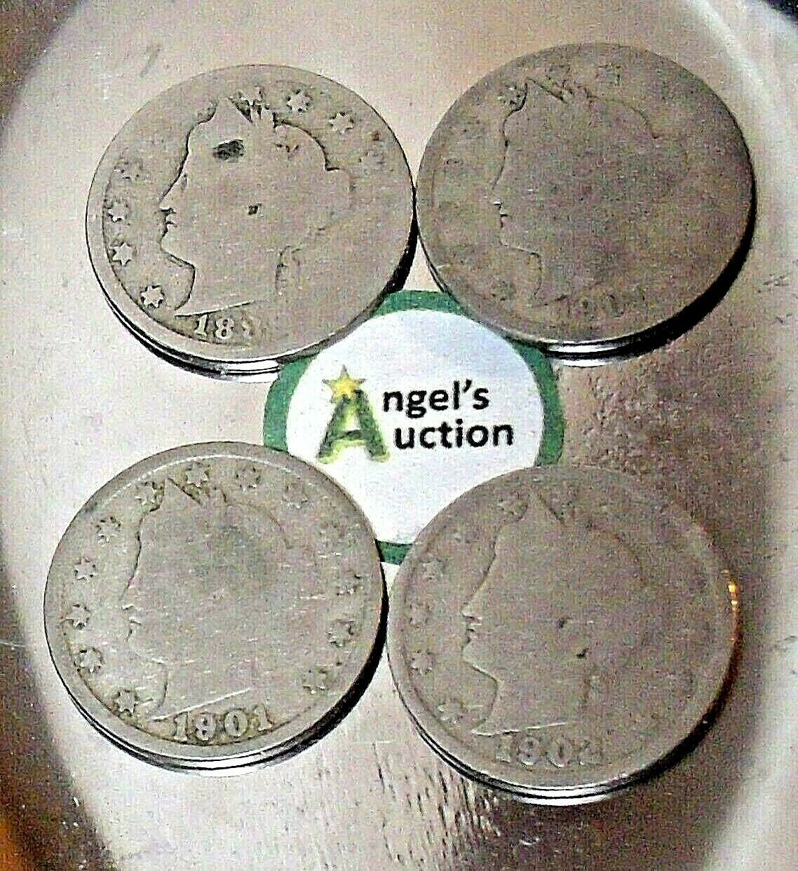 Liberty Head Nickel Five-Cent V Pieces 1889, 1900, 1901 and 1902 AA20-CNN2151 An