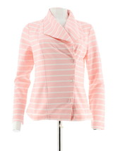 Isaac Mizrahi Striped French Terry Knit Motorcycle Jacket Pink Ice S NEW... - $45.52
