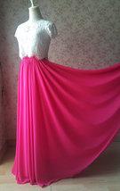 Fuchsia Hot Pink Full Chiffon Skirt Floor Length Summer Bridesmaid Chiffon Skirt image 6