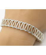 ITALY 925 Sterling Silver - Vintage Zig Zag Wrapped Wire Detail Bracelet... - $89.24