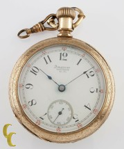 Gold Filled Waltham Antique Open Face Pocket Watch Size 18 11 Jewel - $259.88